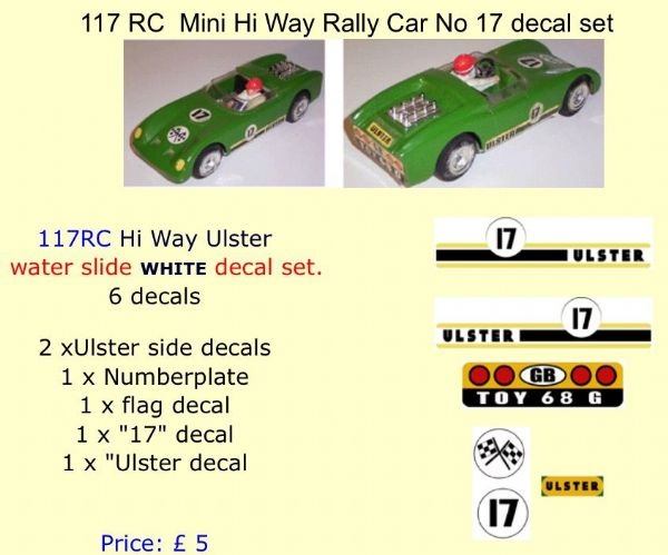 117 Tri-ang RC  Mini Hi Way Rally Car No 17 decal set